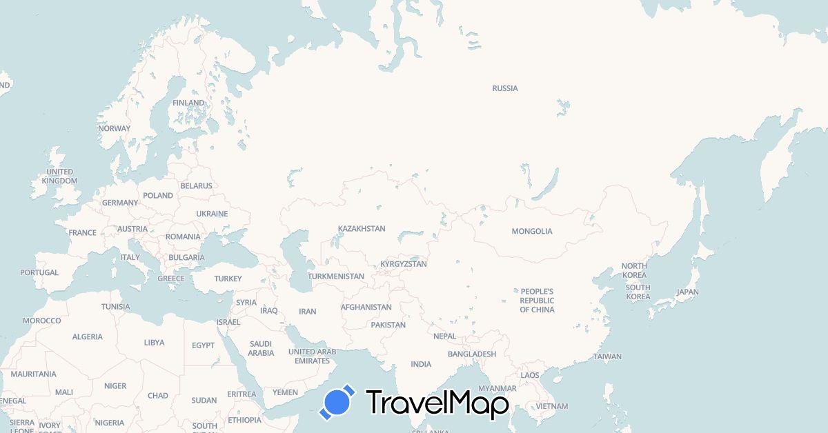 TravelMap itinerary: driving, hiking, boat, motorbike, kayac in Albania, Azerbaijan, Switzerland, France, Greece, Croatia, Iran, Italy, Kyrgyzstan, Kazakhstan, Montenegro, Mongolia, Russia, Tajikistan, Turkmenistan, Turkey, Uzbekistan (Asia, Europe)